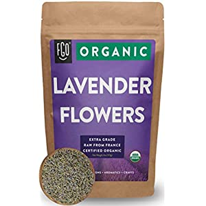 Organic Lavender Flowers Dried | Perfect for Tea, Baking, Lemonade, DIY Beauty, Sachets & Fresh Fragrance | 100% Raw From France | Large 4oz Resealable Kraft Bag | by FGO