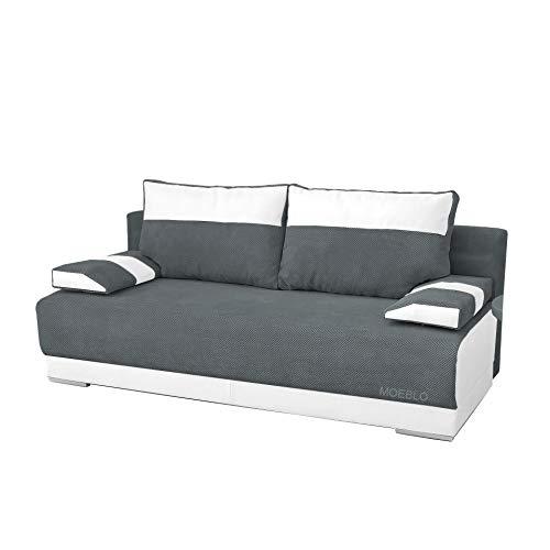 mb-moebel Couch mit Schlaffunktion und Bettkasten Sofa Schlafsofa Wohnzimmercouch Bettsofa Ausziehbar Nisa (Dunkelgaru + Weiß)