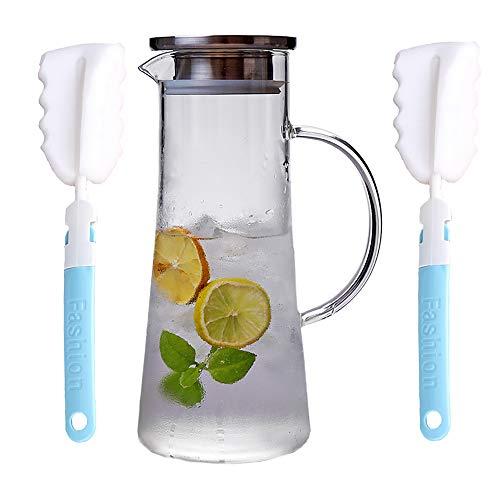 JAMITE Bollitore in Vetro da 1,5 Litri con Coperchio Bollitore per tè Acqua Calda e Fredda per Arricciare tè Vino caffè Latte e Succo Bevanda Caraffa di Vetro