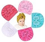 Lumsinker 5 gorros de moda para bebé niña con lazo turbante nudo para bebés