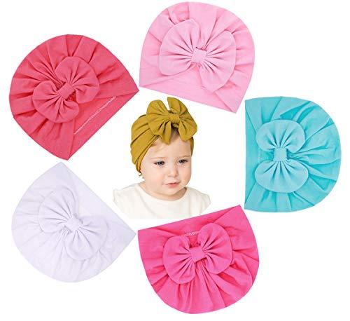 Lumsinker 5 gorros de moda para bebé niña con lazo turbante nudo...