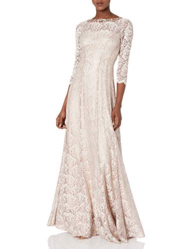 Tahari by Arthur S. Levine womens7121M255Long Sleeve Stretch Lace Gown Three-Quarter-Sleeve Dress - Gold - 8