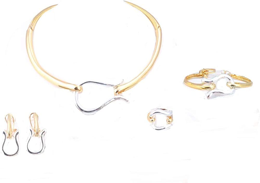 WANG African Jewelry Set 18k Gold Plated 3 Colors Bridal Wedding Necklace Jewelry Set