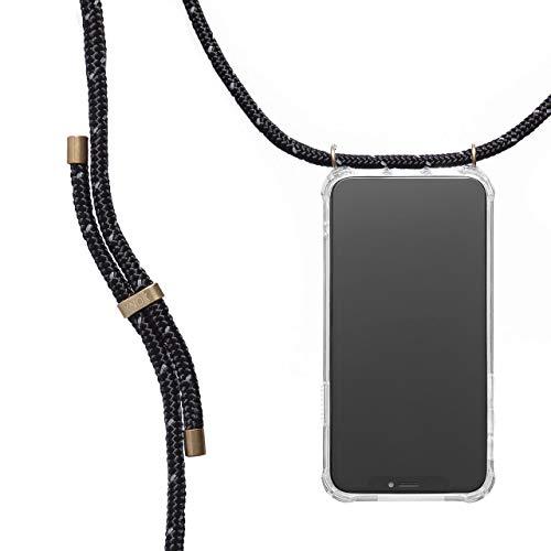 KNOK Handykette Kompatibel mitApple iPhone 7 Plus / 8 Plus- Silikon Hülle mit Band - Handyhülle für Smartphone zum Umhängen - Transparent Case mit Schnur - Schutzhülle mit Kordel in Reflekt Schwarz