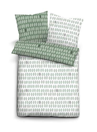 Biberna 0656720 Bettwäsche Garnitur mit Kopfkissenbezug GOTS Mako Satin 155x220 cm + 1x 80x80 cm, fichte