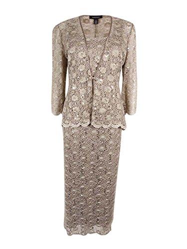 R&M Richards Women's Plus Size 2 PCE Lace Swing Jacket Dress Knit