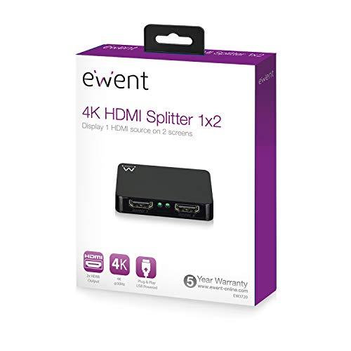 Ewent 4K HDMI 1.4 splitter 2 poorten, weergave van 1 HDMI-bron tot 2 monitoren (EW3720)