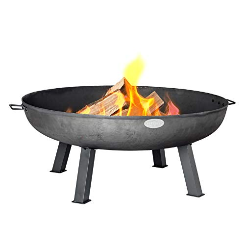 Harbour Housewares Cast Iron Fire Pit   Outdoor Garden Patio Heater Camping Bowl for Wood, Charcoal - 100cm Diameter