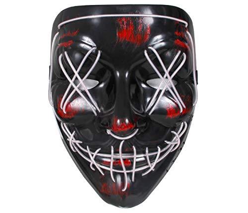 Masque American Nightmare avec LED Blancs The Purge Yeux X Horreur pour Déguisement Costume Halloween Carnaval Adultes Ados Homme Femme
