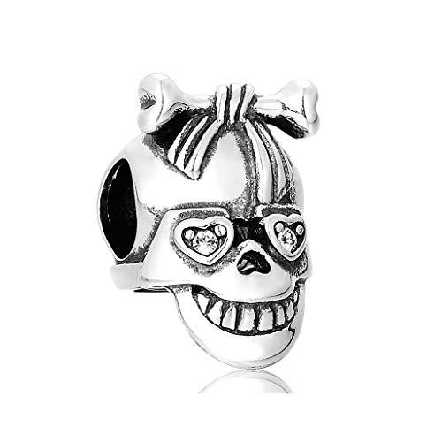 Abalorio de calavera de plata para pulsera, collar, joyería de plata delicada.