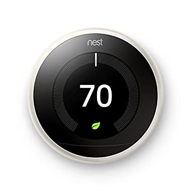 Nest Learning Thermostat, Easy Temperature Control for Every Room in Your House, White (Third Generation), Works with Alexa