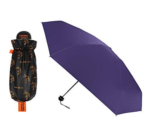 PARIMEX Sun&Rain Paraguas Mini Mujer (18 cm Cerrado) y superligero. Paraguas Plegable protección Solar SPF 50+Plus. Paraguas Antiviento y antigoteo. (Púrpura)