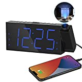 Projection Digital Alarm Clock on Ceiling Wall, LED Alarm Clock for Bedrooms with USB Charger Port,180°Projector,Snooze,DST,Dimmer,Dual Loud Alarm Clock for Heavy Sleeper Adults Kids