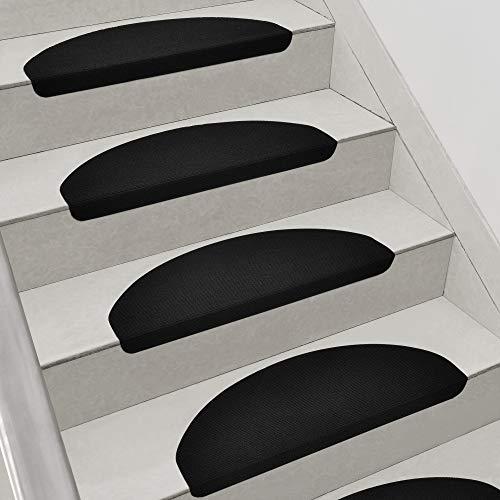 [en.casa] Stufenmatten im 15er Set Schwarz Halbrund Schalldämmend Treppenmatten rutschfest Treppenteppich Treppenschoner
