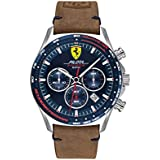 Scuderia Ferrari Men's Pilota Evo Stainless Steel Quartz Watch with Leather Calfskin Strap, Brown, 22 (Model: 0830711)