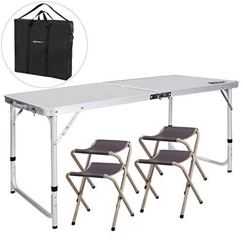 REDCAMP 3 Foot Aluminum Folding Table and Chairs Set, Adjustable Height Lightweight Portable Camping...