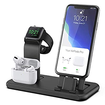 Conido 3 in 1 Charging Station for Apple Products, Stand for Apple Watch Series 5/4/3/2/1, AirPods Pro/2/1 Charging Dock, Charger Station for iPhone SE New/11Pro Max/XS Max/XR/8 Plus/7 Plus/6S Plus by Celevio