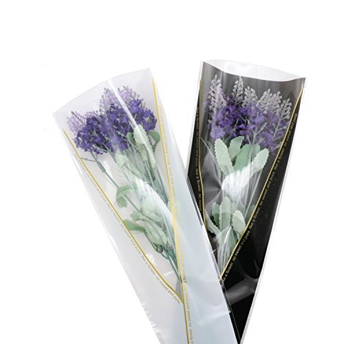100 Pieces Flower Wrapping Paper Single Rose Packaging Bag, Black, White
