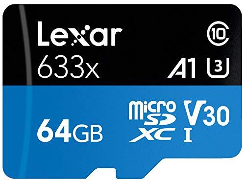 Lexar High-Performance 633x 64GB MicroSDXC UHS-I Card with SD Adapter (LSDMI64GBBNL633A)