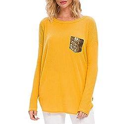 Yellow Sequin Pocket Long Sleeve Knit Shirt Tunic Top