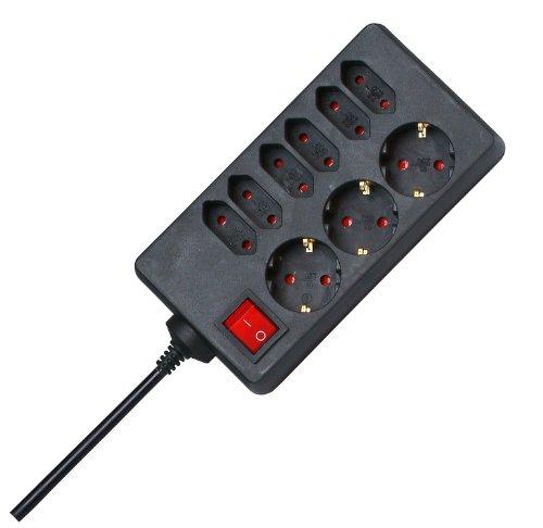 Kopp 129805005 3+6-fach Steckdosenleiste mit beleuchtetem Schalter Standard, schwarz