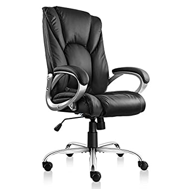 VIVA OFFICE Swivel Office Chair, Black PU Leather