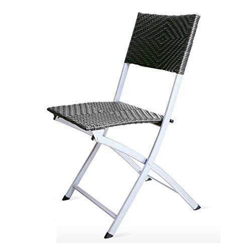 QIDI Chaise Pliante Chaise d'ordinateur Chaise de Bureau Chaise de Salle à Manger Chaise Rotin en Plastique Simple Moderne Pliable Facile à Transporter Aucun Besoin d'installer Respirant Durable