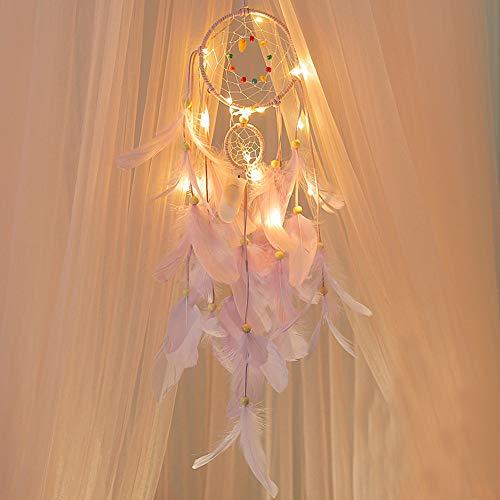 FeiliandaJJ Traumfänger, Nachtlicht Feder Nachtlichter Wand Hängend Home Decor Nacht Lampe für Kinder Baby Schlafzimmer Wohnzimmer Geburtstag Geschenk (Lila)