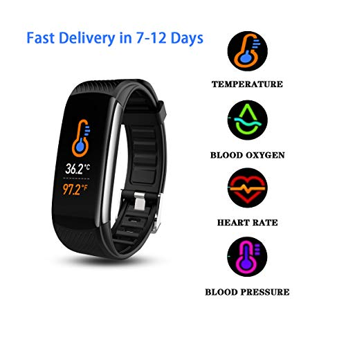 Smart Watch Thermometer Fitness Tracker with Body Temperature Blood Oxygen Heart Rate Blood Pressure Monitor for Kids Adults Accurate Digital Readings with Sleep Monitor Step Counter IP67 Waterproof Activity Features Fitness Sports Trackers