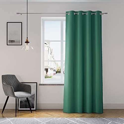 AmeliaHome Vorhang 140x250 cm Fensterdekoration Ösenschal Dekoschal Dekorvorhang Oxford Solid Dunkelgrün