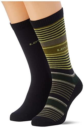 Levi's Multi Stripe Cut Socks Calcetines Corte múltiples Rayas, Green/Yellow, 43 Regular Unisex Adulto