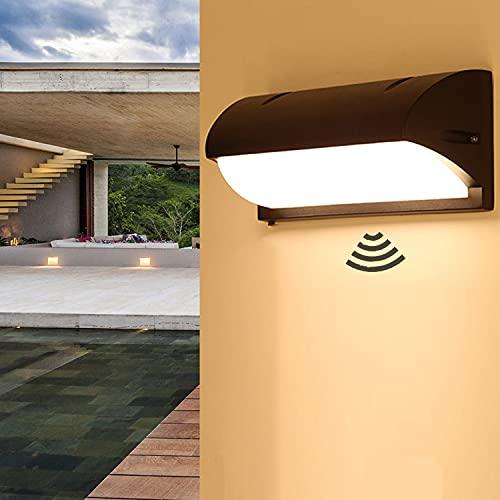 Kingwei 18W Aplique pared exterior LED con detector de movimiento Impermeable IP65 3000K Lampara de pared sensor de radar Apliques de aluminio para jardines, pasajes, escaleras, balcones