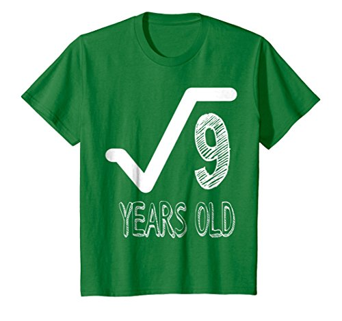 Kids 3 Years Old Birthday Teen Mathematics Nerd Geek T-shirt 4 Kelly Green