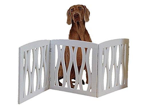Folding 3 Panel Wood Pet Gate with Wavy Design - White