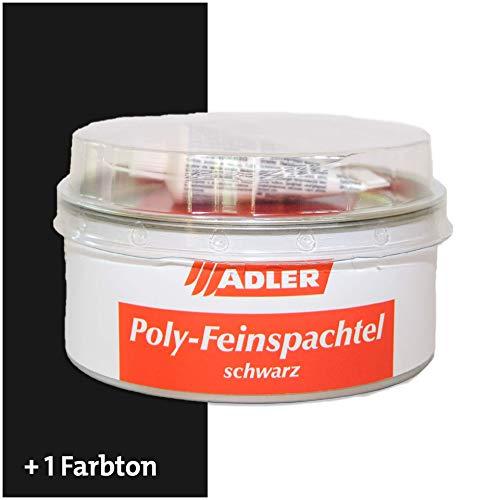 ADLER Poly-Feinspachtel 2K - Schwarz - Universelle, hochwertige Zweikomponenten Spachtelmasse für Möbel und Innenausbau - 1 kg