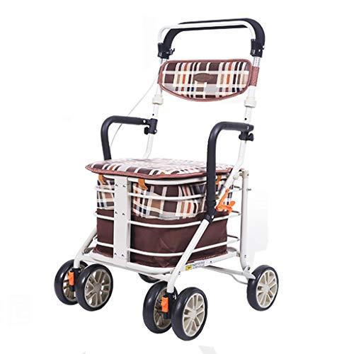 Lichtgewicht Opvouwbare 6 Wiel Rollator Walker met Rod Brake/Inklapbare Waterdichte Winkelwagen Trolley/Oudere Ouderdom Wandelstoel kan nemen om voedsel te kopen om te helpen Push Small Cart-50x52x86-90cm