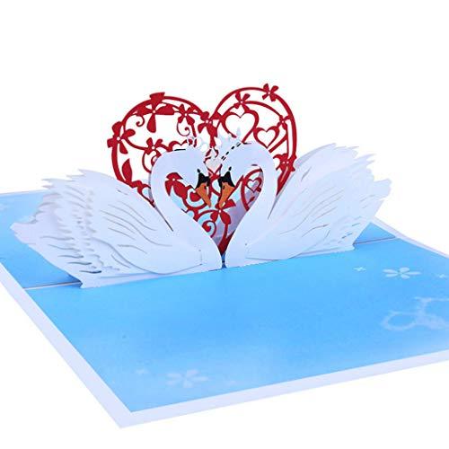S-TROUBLE 3D Pop Up Swan Tarjetas de felicitación Cumpleaños Boda San Valentín Aniversario Invitaciones