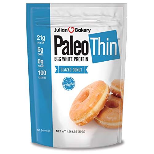 Julian Bakery Paleo Thin Protein Powder | Glazed Donut | 22g Egg White Protein | 4 Net Carbs | Soy/GMO/Gluten Free | 1.96 LBS | 30 Servings