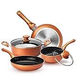 KUTIME 6pcs Cookware Set Pot and Pan Set Non-stick Frying Pans Set Ceramic Coating Soup Pot, Milk Pot, Copper Aluminum Pan with Lid Gas Induction Compatible, 1 Year After sale service