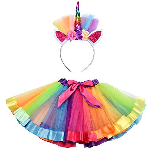Rainbow Tutu Skirt, Little Princess Kids Skirt, Layered Dance Ballet Skirt, for Toddler Girls Dress Up with Unicorn Headband - Col 1