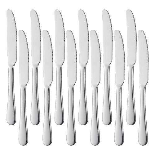 Meisha Tafelmesser, 12-teilige Edelstahl Abendessen Messer, Buttermesser, Abendessen Messer Set Tischmesser Besteck Set, Spiegel poliert, ideal für zu Hause, Küche - 8,9 Zoll, Silber