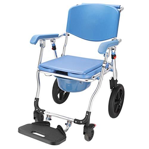 Toiletstoel Commode Seat, 4 in 1 multifunctionele Bedside Badkamer Wiel Stoel met Stevige opvouwbare aluminium frame, for woonkamer, slaapkamer, toilet, ziekenhuis