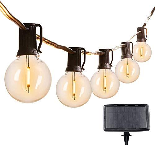 充電式ソーラーライトストリング,防雨型 ストリングライト25LED電球,予備電球2個,全長8.2m,4発光モード,4400mAhリチウム電池,夜間自動点灯 屋外,防水 耐熱,クリスマス パーティー,誕生日,結婚式パーティー電飾,屋内でも屋外でも使用