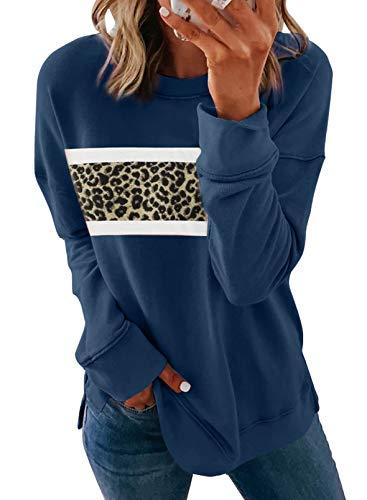 LOSRLY Damen Rundhals Langarm Leopard Farbblock Sweatshirts Sportswear Pullover Tops...