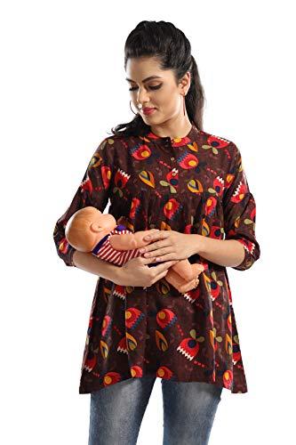 AV2 Printed Women Maternity Feeding Tunic Top Brown Large
