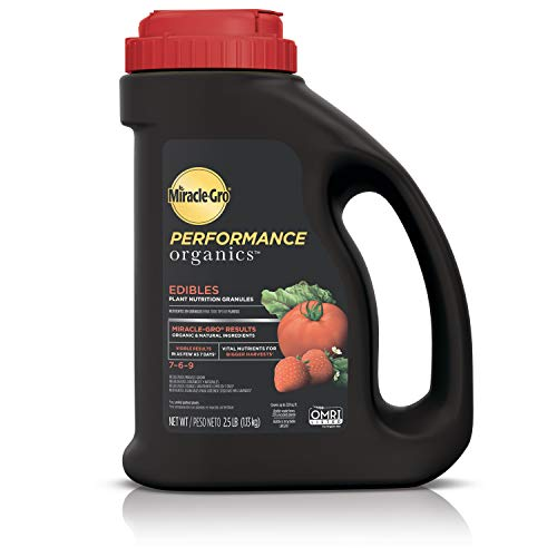 organics Miracle-Gro Performance Organics Edibles Plant Nutrition Granules - Plant Food with Natural & Organic Ingredients, for Tomatoes, Vegetables, Herbs and Fruits, 2.5 lbs.