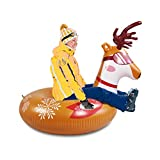SUNSHINEMALL Snow Tube - 47 Inch Inflatable Snow Sled Snow Toys Elk Shape for Kids and Adults Heavy Duty Inflatable Snow Tube Winter Outdoor Toys for Kids and Adults(Elk)