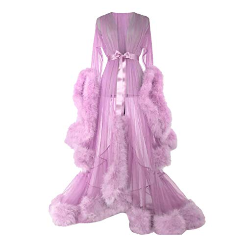 Retro Vestido para Mujer, Elegante Largos Vestido de Noche Perspectiva Vestido de Gasa Largo Arrastre Vestido Plumas Manga del Volante Sexy Vestido de Columpio, Beige/Rosa/Púrpura/Verde