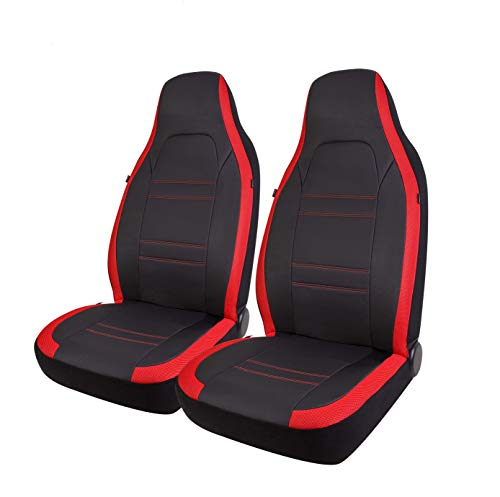 West Coast Auto Sports High Back Car Seat Covers, PU Leather & Mesh Sides Design, Airbag Compatible, Universal Fits for Cars, Trucks, Vans & SUVs (Red)
