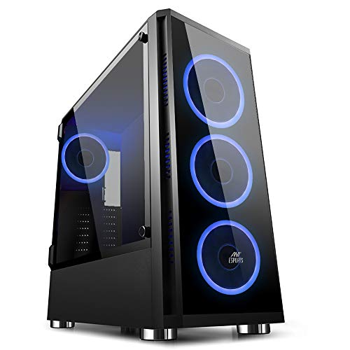 Ant Esports ICE-400TG Mid Tower Gaming Cabinet Supports ATX, Micro-ATX, Mini-ITX MB with Tempered Glass Front & Tempered Swing Door Left Side Panel, 4 RGB Ring Fan Preinstalled with Remote Control